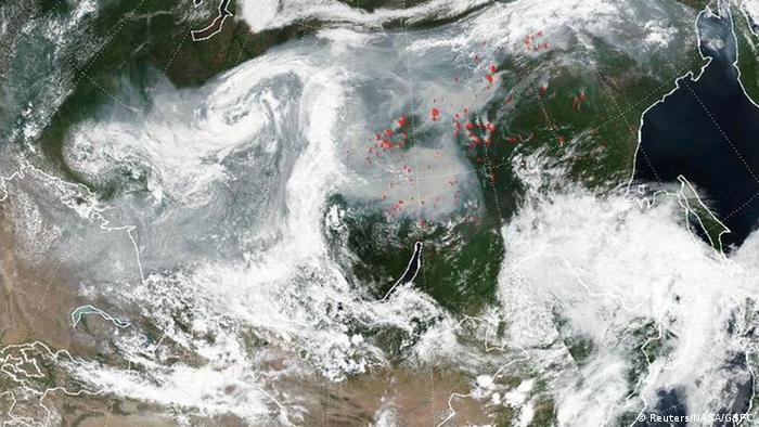 Вид из космоса на пожары в Сибири, 21 июля 2019 года