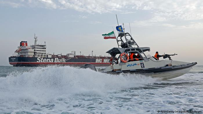 Iranian Revolutionary Guards patrol the British-flagged tanker Stena Impero (AFP/Getty Images/H. Shirvani)