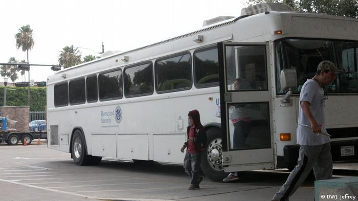 Immigrants arrive at the Greyhound bus station in McAllen, which straddles the Texas border with Mexico.