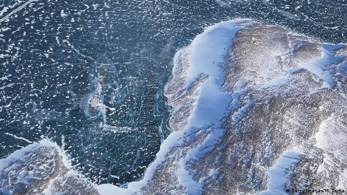 Sea ice meets land as seen from NASA's Operation IceBridge research aircraft along the Upper Baffin Bay coast