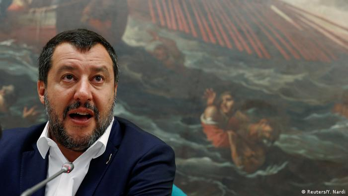 Matteo Salvini speaks to press