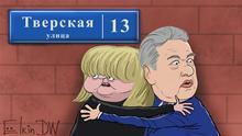 Karikatur Russland Protestkundgebung Aufruf