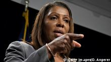 NEW YORK, NY - JUNE 11: New York Attorney General Letitia James speaks during a press conference, June 11, 2019 in New York City. James announced that New York, California, and seven other states have filed a lawsuit seeking to block the proposed merger between Sprint and T-Mobile. James said that the merger would deprive customers of the benefits of competition and potentially drive up prices for cellphone service. (Photo by Drew Angerer/Getty Images)
