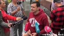 Russland Moskau Ausgeschlossener Oppositionskandidat Ilja Jaschin spircht zur Presse