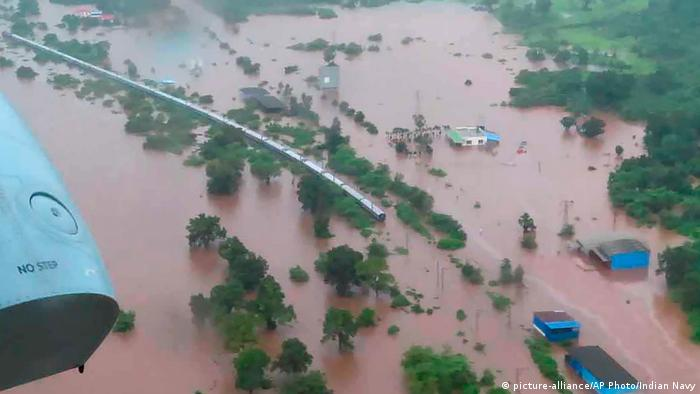 An aerial view of the Mahalaxmi Express train stuck in floodwaters near Mumbai