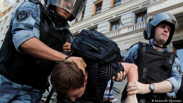 Жесткие задержания участников акции за свободные выборы в Москве 27 июля 2019 года