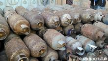 Main title: Household gas cylinders damaged in Yemen Photo's title : Domestic gas cylinders, showing the effects of damage in some cylinders Place & Date: Sana'a, 2019 Copyright / Photographer: Jamil Abdullah, exclusive for DW