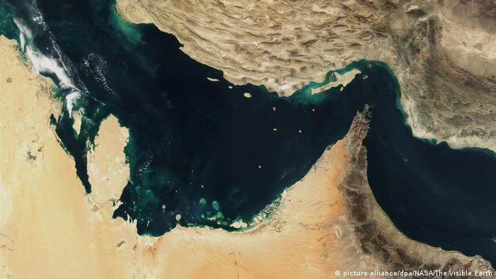 Satellite view of Gulf of Oman, the Strait of Hormuz and part of the Persian Gulf
