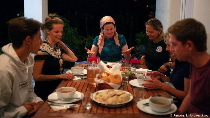 Leila Achishvili hosts a dinner at her house in Georgia (Reuters/E. Anchevskaya)