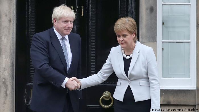 Премьер-министр Великорбитании Борис Джонсон и первый министр Шотландии Никола Стёрджен, Эдинбург, 29 июля 2019 г.