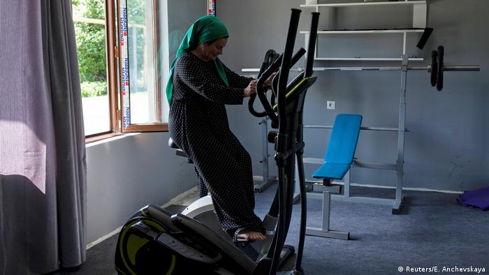 Leila Achishvili uses a gym in Pankisi (Reuters/E. Anchevskaya)