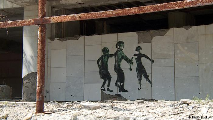 A mural with bullet holes in Pripyat (DW/D. Katkow)