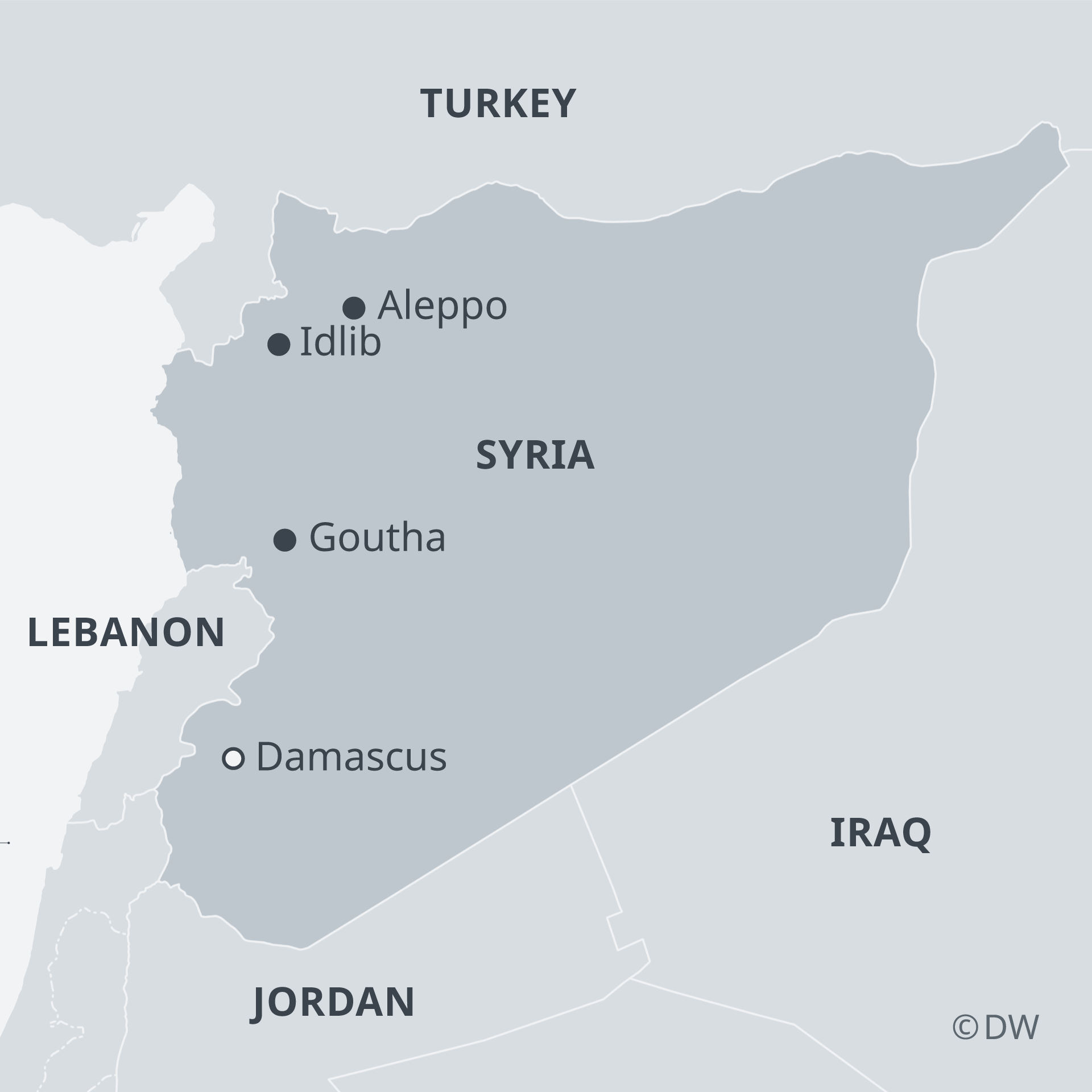 Infografik Karte Syrien mit Idlib und Goutha EN