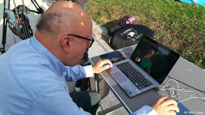 Environemnt activist Francisco Ferreira checking his computer for the latest readings of noise levels from the Lisbon airport