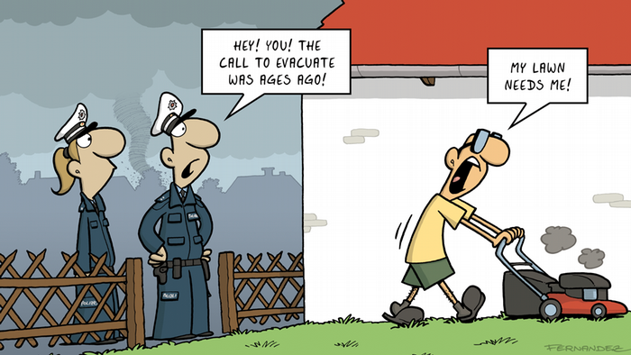 Fernandez cartoon: police officers talking with a man mowing his lawn
