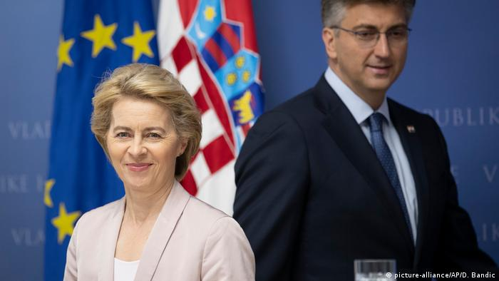 Ursula von der Leyen and Croatian PM Andrej Plenkovic