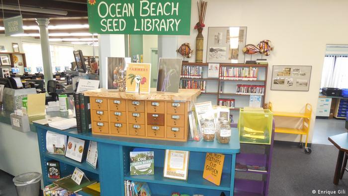 Foto aus den Räumen der Ocean Beach Bibliothek. Ein Katalog steht auf einem Bord
