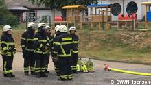 Firefighters during an exercise at the voluntary fire brigade in St. Katharinen, Rhineland-Palatinate