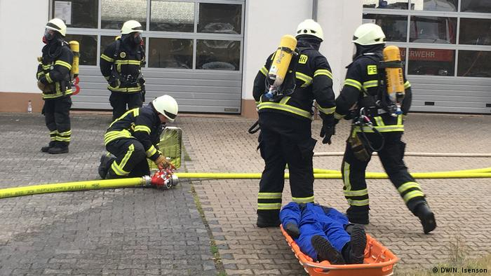 Firefighters durign an exercise in St. Katharinen, Rheinland-Pfalz