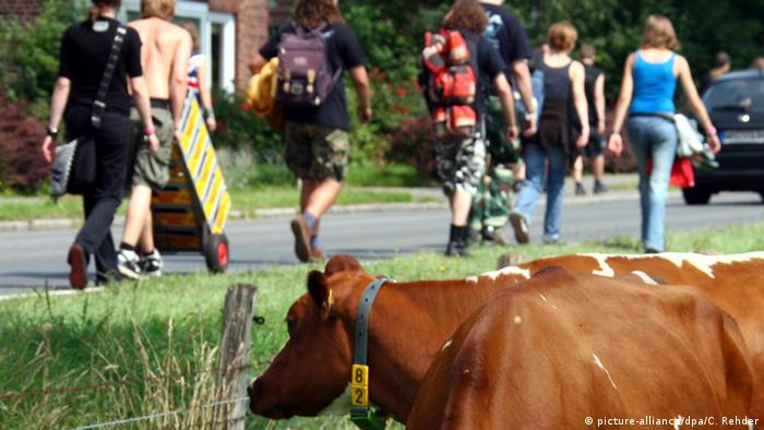 cow in the front, people with backpacks walking down a road in the back (Foto: picture-alliance/dpa/C. Rehder).