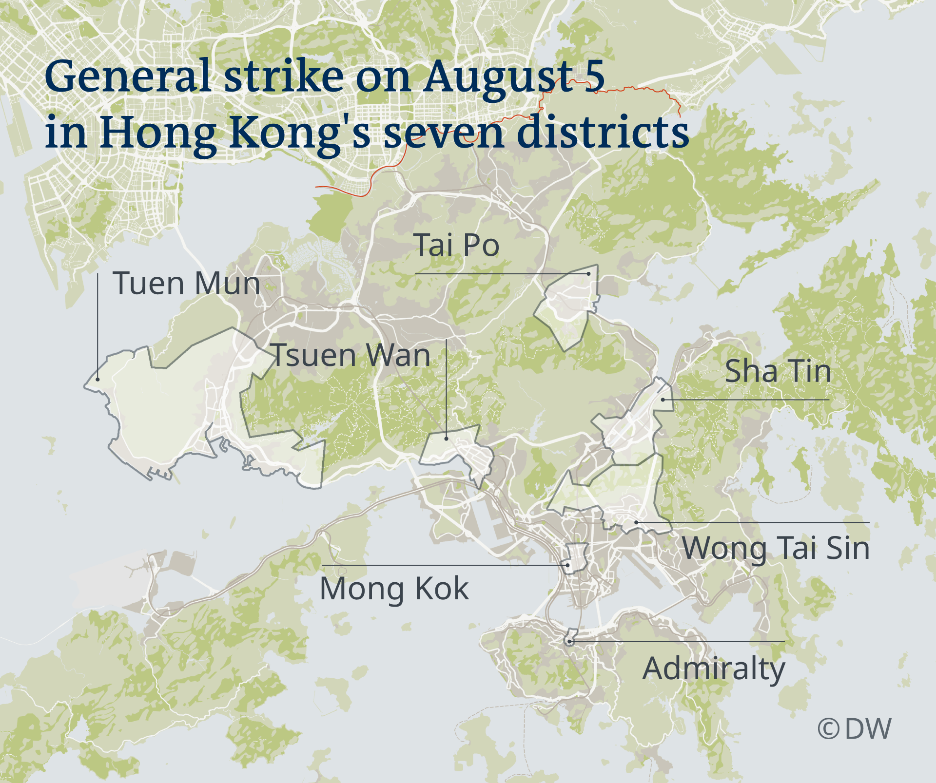 A map showing where the general strike on August 5 is expected to take place across Hong Kong