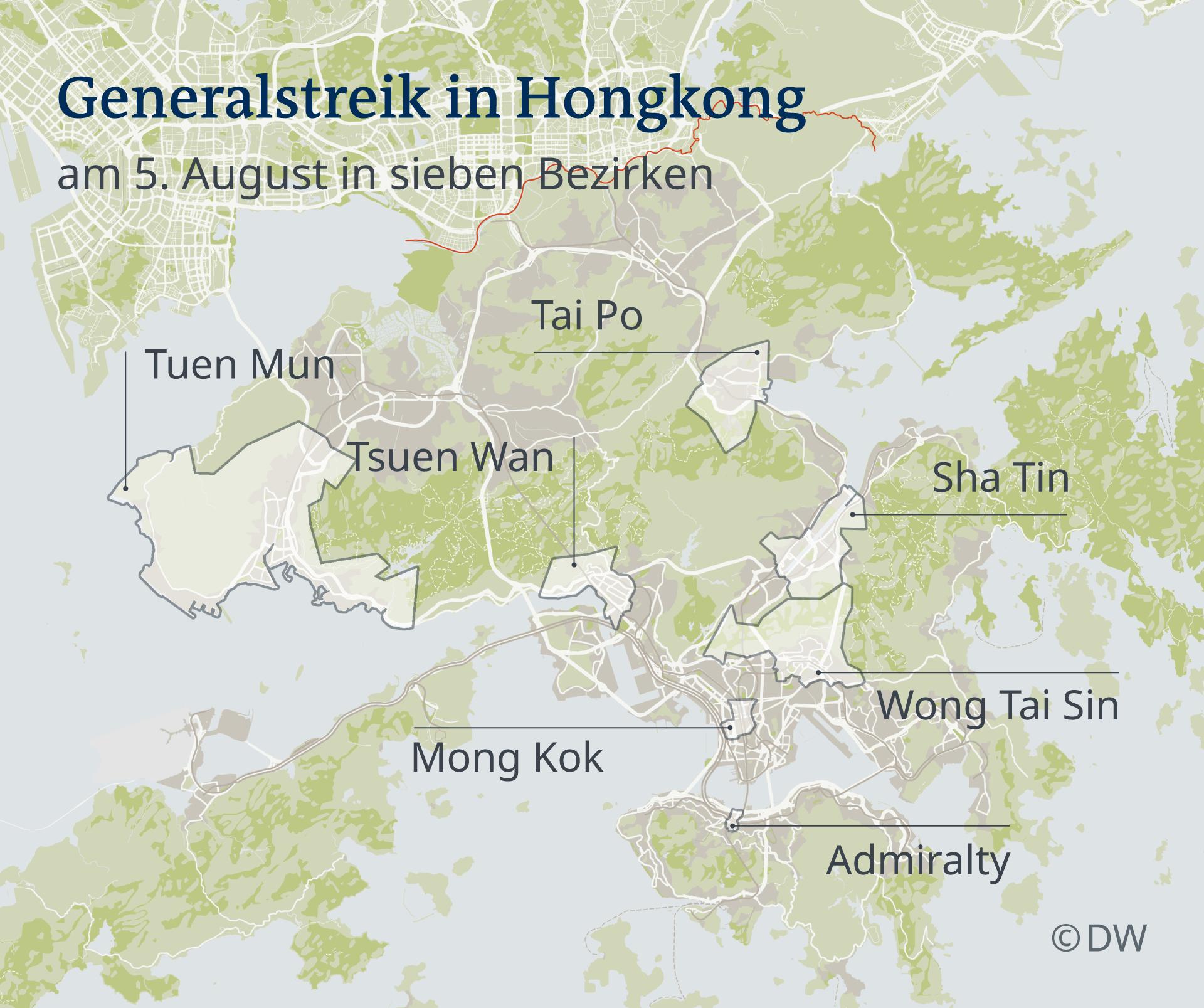 Karte Generalstreik in Hongkong DE