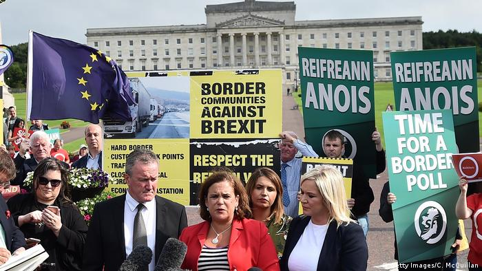 Protesters against Brexit in Belfast in 2019