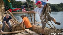 July 2019 German archeologist and adventurer Dominique Goerlitz bringing rope up to the hull of the Abora IV