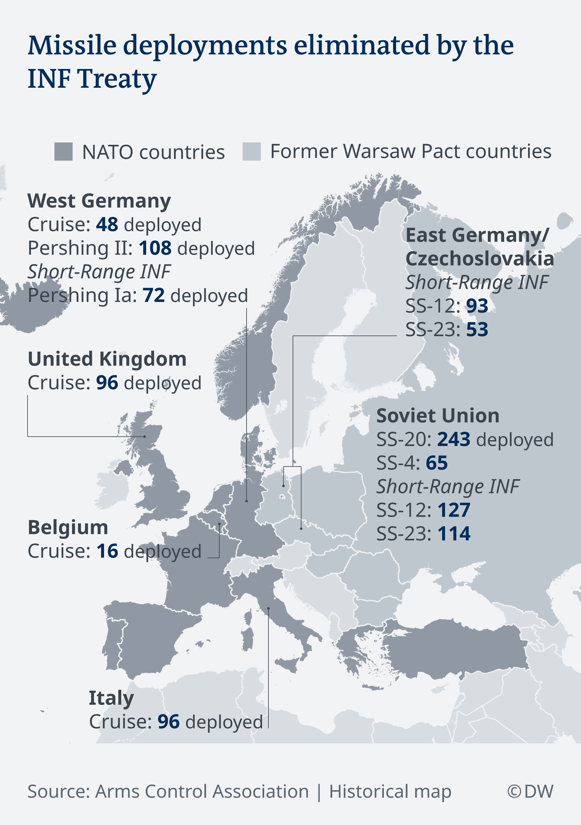 A map showing missile deployments eliminated by the INF treaty