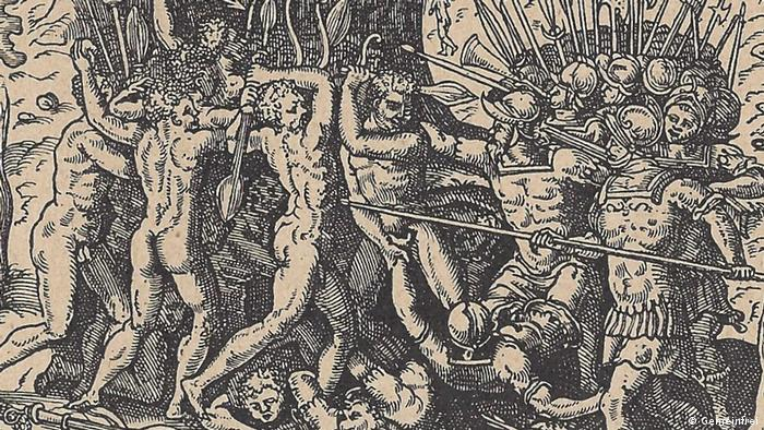 woodcut shows killing of Ferdinand Magellan
