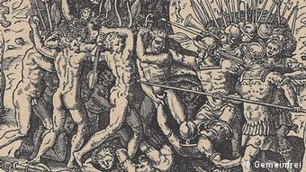 Holzschnitt zur Ermordung von Ferdinand Magellans