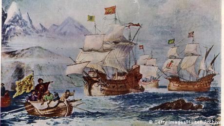 pianting of Magellan's fleet , ships at sea
