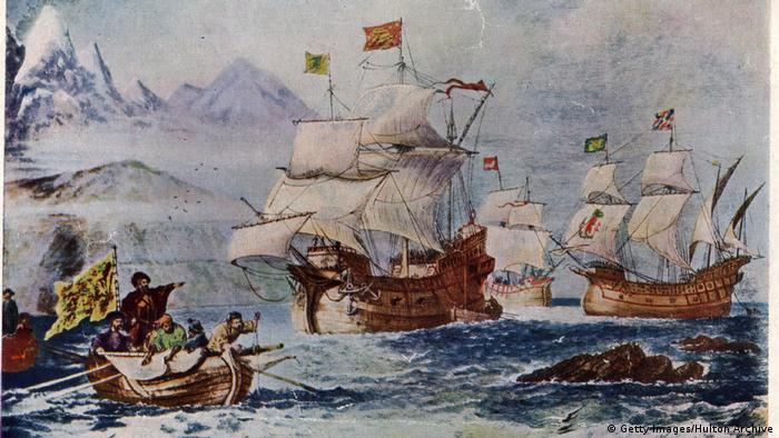 pianting of Magellan's fleet , ships at sea (Getty Images/Hulton Archive)