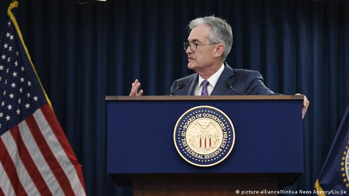 US Federal Reserve Chairman Jerome Powell speaks during a press conference in Washington D.C.