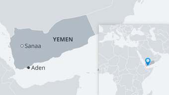 A map of Yemen showing Sanaa and Aden
