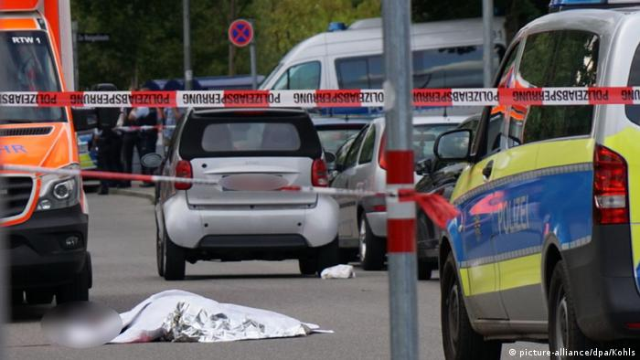 Crime scene in Stuttgart, where a man was stabbed with what was described as a 'sword'