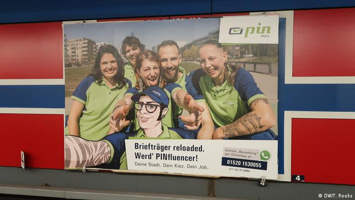 This recruiting ad in the Berlin underground for Pin delivery service shows the company is clearly open to employees with tattoos