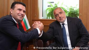 Επίσκεψη του βούλγαρου πρωθυπουργού Μπορίσοφ στα Σκόπια το 2019 και συνάντηση με τον ομολογό του από τη Βόρεια Μακεδονία Ζάεφ.