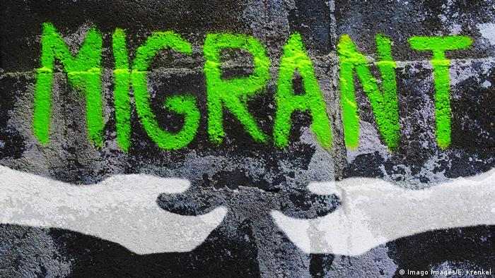 Hands coming together under the word Migrant