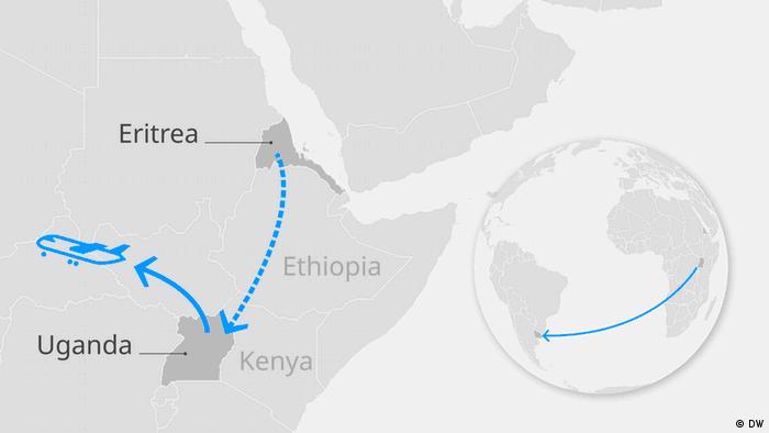 Karte Afrikas neue Fluchtroute EN (DW)