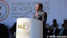 1.8.2019, Gorongosa, Provinz Sofala, Mosambik, Am 1.8.2019 haben der mosambikanische Präsident Filipe Nyusi und der Führer der größten Oppositionspartei RENAMO, Ossufo Momade, in der Region Serra da Gorongosa im zentrum Mosambiks (Provinz Sofala) einen neuen Friedensvertrag unterzeichnet. Damit wollen sie die bewaffneten Feindseiligkeiten zwischen der RENAMO und der Regierung beenden. Hier im Bild. Ossufo Momade bei seiner Ansprache.