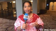 Nathalie Yamb, der Exekutivberaterin der Partei Freiheit und Demokratie für die Republik (LIDER) in Côte d'Ivoire,