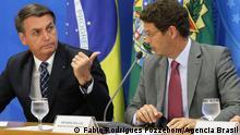 PK Brasilianischer Präsident, jair Bolsonaro und Umweltminister, Ricardo Salles über Amazoniens Abholzung