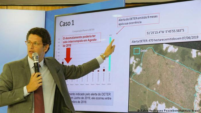 PK Brasilianischer Präsident, jair Bolsonaro und Umweltminister, Ricardo Salles über Amazoniens Abholzung (Fabio Rodrigues Pozzebom/Agencia Brasil)