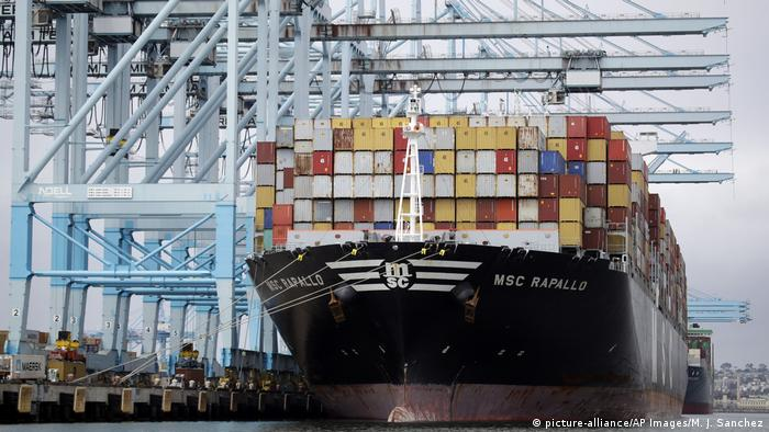 A cargo ship is docked at the Port of Los Angeles