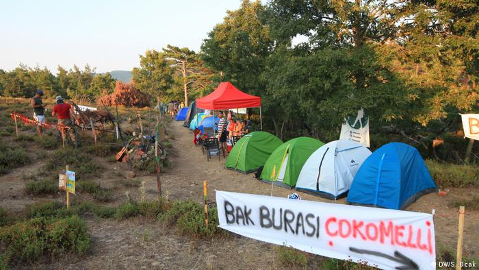 A protest camp in the Ida mountains opposing construction of a gold mine
