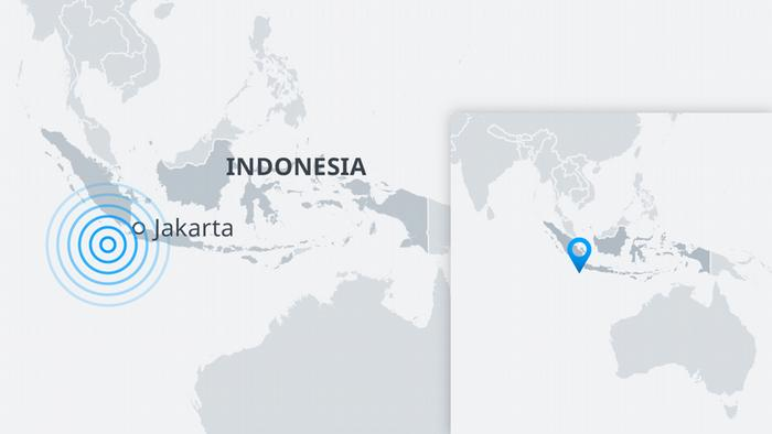 Map showing the location of an earthquake near Jakarta, Indonesia