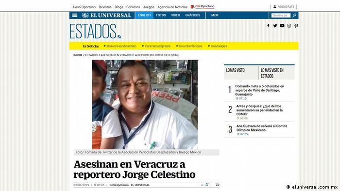 Screenshot Journalist Jorge Celestino Ruiz (eluniversal.com.mx)
