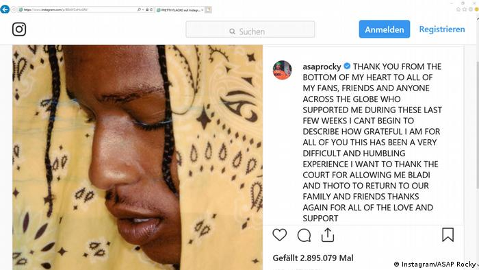 Screenshot Instagram - ASAP Rocky