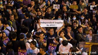 Hongkong Anti-Regierungsproteste - Schild mit der Aufschrift Independet Inquiry